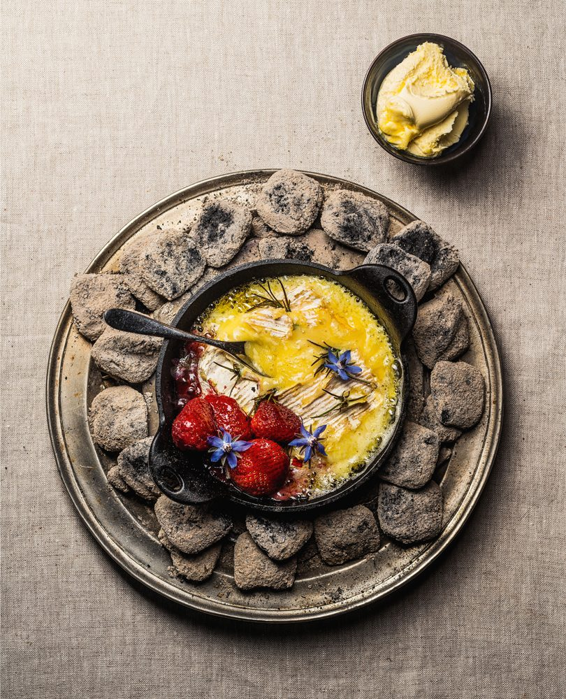 EMBER-BAKED CHEESE WITH STRAWBERRIES & HONEY