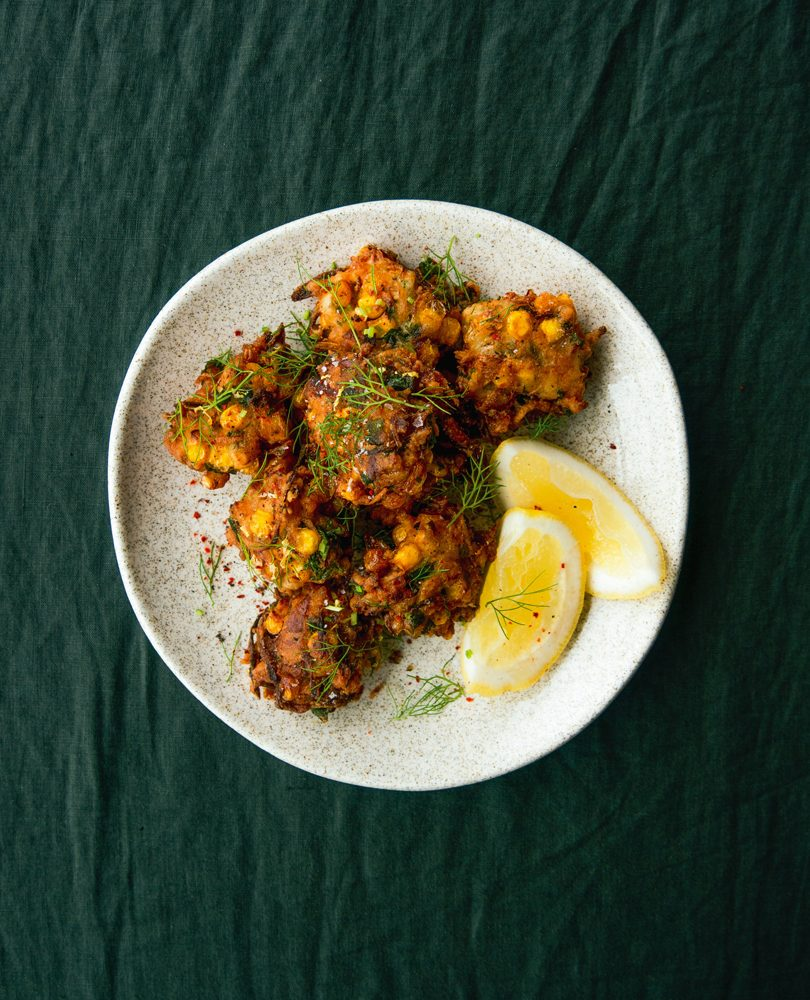 PICKLED CORN & SMOKED MACKEREL FRITTERS