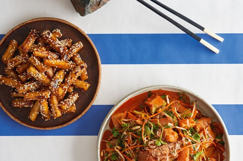 RAW FISH KOREAN-STYLE WITH GOCHUJANG, RICE CAKES, BEAN SPROUTS & SESAME