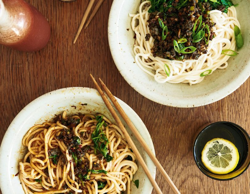 CHILLED PĀUA, SHIITAKE & WATERCRESS DAN DAN NOODLES