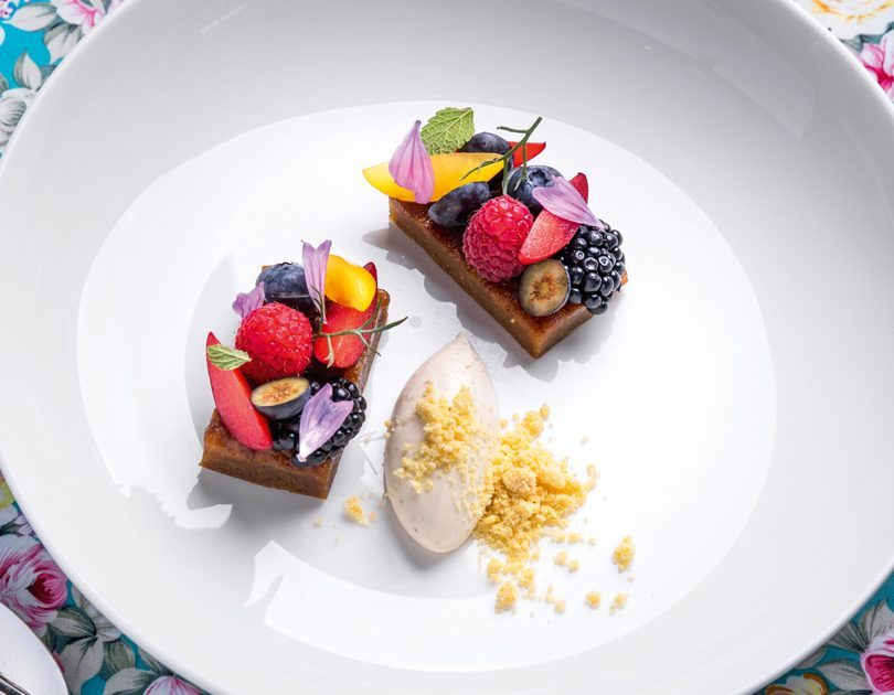 BUSH HONEY & HAZELNUT TART, CITRUS LABNE & FRESH BERRIES
