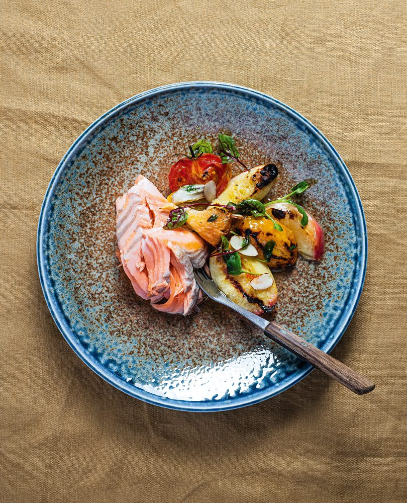 GRILLED SALMON WITH A WARM SALAD OF NECTARINES & APRICOTS