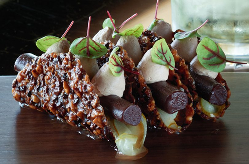 SPICED PEAR, EARL GREY CHOCOLATE & HAZELNUT TACO