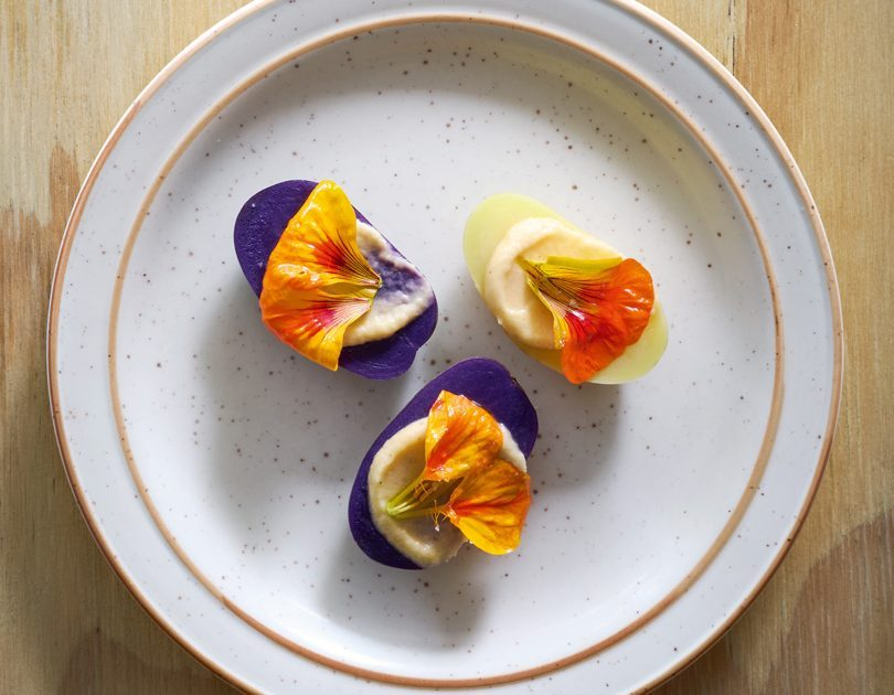 PICKLED POTATOES WITH WHIPPED TURNIP, NASTURTIUM & CHILLI