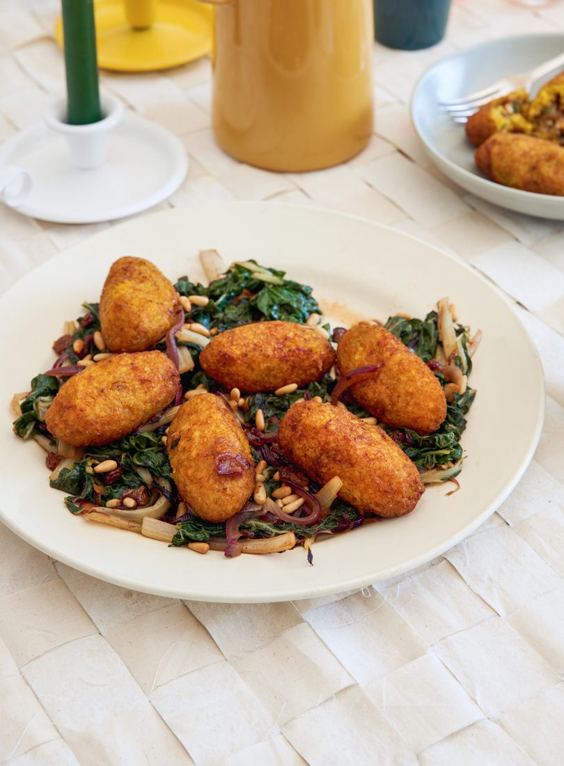 PUMPKIN KIBBEH WITH WILTED GREENS & QUINCE PASTE DRESSING