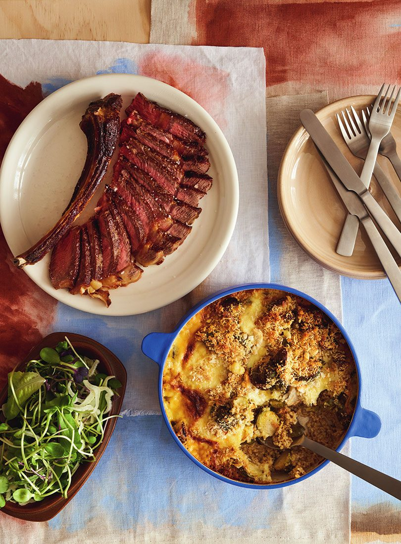 BRUSSELS SPROUTS, MOZZARELLA & QUINOA GRATIN WITH AGED RIBEYE