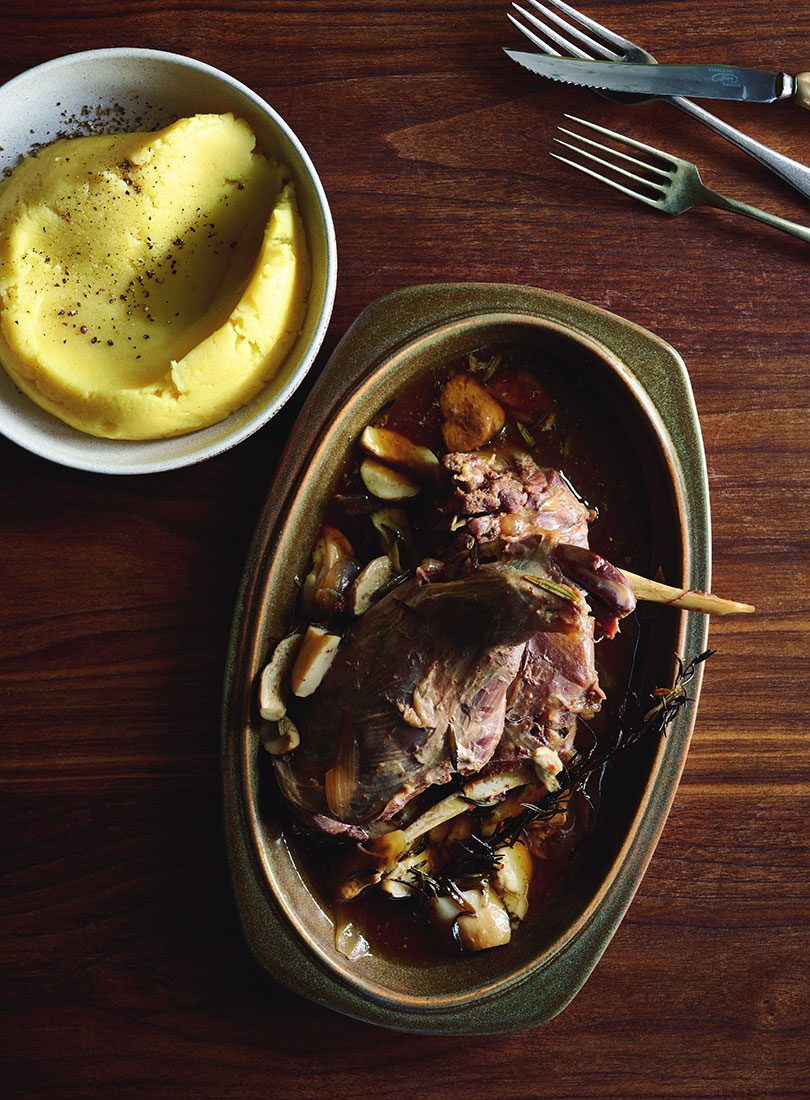 BRAISED HARE LEG WITH ALE & PORCINI