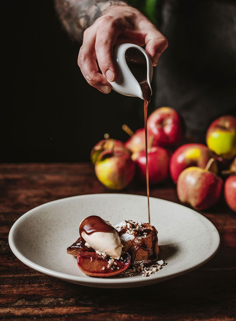 ALMOND CAKES, ROASTED APPLES, BROWN BUTTER & BRANDY SAUCE