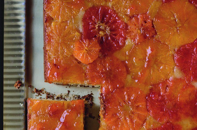 BOOZY CITRUS & ALMOND UPSIDE-DOWN SHEET CAKE