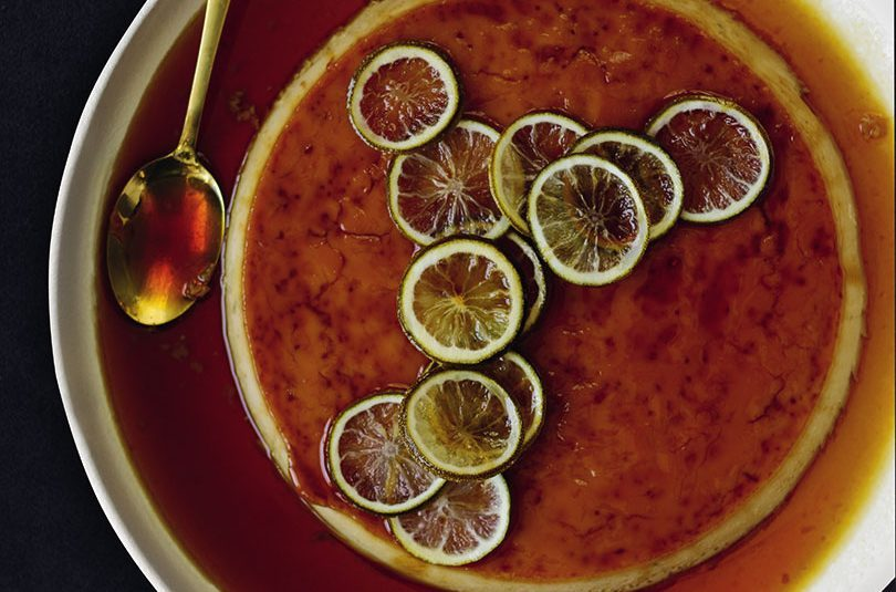 LIME & COCONUT FLAN WITH GIN & TONIC CARAMEL
